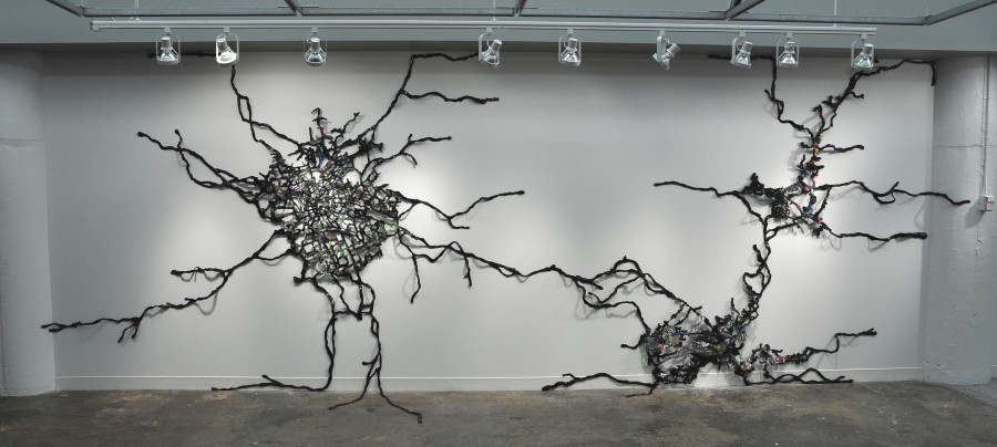 "UntitledDimensions: h 9' x w 21' x d 8""Medium: Acrylic, Tar, Found Objects"