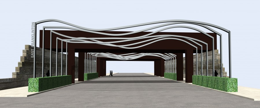 Concept Gateway SculptureDimensions: h 20' x w 60' x d 350'Medium: Steel
